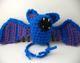Crocheted Plush Blue and Purple Bat Monster