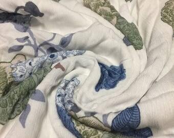 Rayon Crinkle Print Fabric  Floral Print