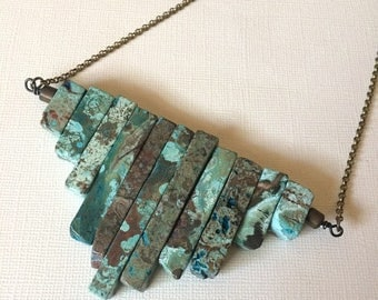 SUMMER SALE Ocean Jasper Wire Wrapped Bib Necklace -  Bohemian Statement Jewelry