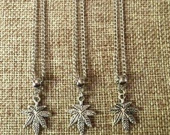 FALL SALE Marijuana Leaf Necklace / Pot Leaf Necklace / Weed Leaf Necklace / Marijuana Jewelry / Stoner Jewelry / Mens Marijuana Leaf Neckla