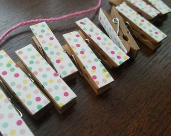 Mini Confetti Party Polka Dots Clips w Pink Twine for Pic Display, Chunky Little Clothespins, Set of 12 Baby Shower Birthday Clothesline