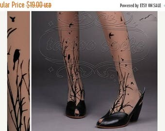 ON SALE/// fabulous FOREST Symphony tattoo thigh-high nylons Deep Mocha