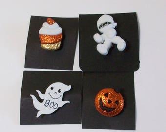 Halloween lapel pins: ghost, mummy, pumpkin, cupcake