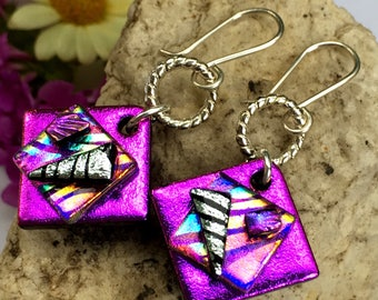 3D Dichroic Glass Earrings - magenta pink purple rainbow with Sterling Silver Hooks