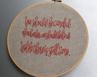 be careful - hand embroidered Philip Larkin inspired wall hanging