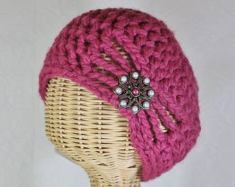 Half Price & Ready to Ship! Wool-Blend, Flapper Style, Raspberry Cloche Hat - Chunky Winter Hats for Women