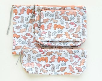 Cute Gnawing Rodents Zipper Pouch | Original Fabric Design | Make-up, Project bag, Pencil Pouch | Choose From 4 Sizes