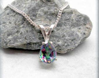 Mystic Topaz Necklace, Pear Shape Mystic Topaz, Sterling Silver, Gemstone Necklace, Multicolored Jewelry, Gemstone Pendant, Rainbow (SN1002)