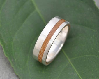 Equinox Bourbon Barrel 14k White Gold Wood Ring - ecofriendly wood wedding band, mens wood wedding ringwhiskey barrel ring