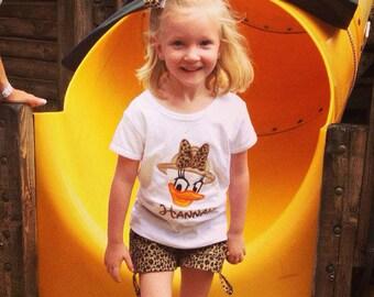 Safari Daisy Personalized Applique Tshirt Vacation Tee