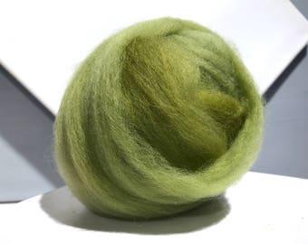 Split pea green wool roving, Spinning Fiber, Needle Felting wool, variegated yellow grey green wool roving