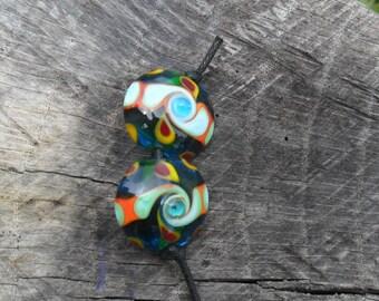 Aqua Orange Green Red Yellow Lentil Earring Pair SRA Handmade Lampwork By Glassymom