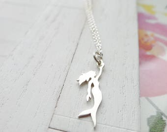 Mermaid Necklace Sterling Silver Charm Gift for Girls Ocean Lover
