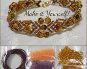 KIT - Beaded Micro Macrame Bracelet - Arrow - Amber Purple Orange
