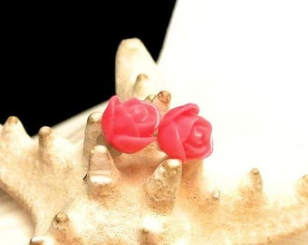 Valentines Sale Small Pink Lucite Rose Stud Earrings Vintage Earrings Lucite Post Earrings Pink Rose Studs Small Earrings