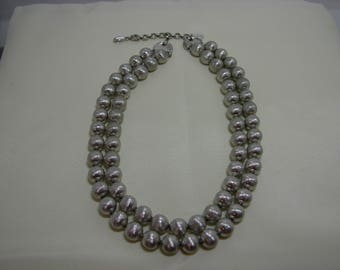 Vintage Monet 2 Strand Brushed Silver Beaded Necklace, MoonMagicTreasures