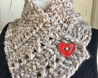 Button Scarf Stone Cold Heart Sandstone Taupe Red Heart Button Cowl