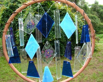 Cobalt stained glass and copper windchime