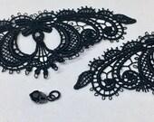 "2 pc. satinized lace trim / lace appliqué with rhinestone pendant — black — rococo / gothic — 11.3x4.5 cm / 4 7/16""x1 3/4"""