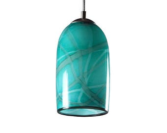 Aqua Milky Way Hand Blown Glass Ceiling Contemporary Modern Pendant Light Interior Lighting Made in Rhode Island, USA