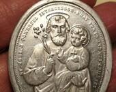Big Sale Huge Vintage Saint St Joseph Pieta Religious Medal Pendant Art Deco Silver Aluminum