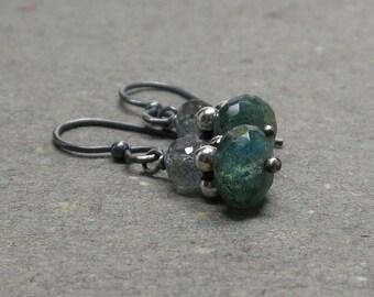 Green Labradorite Earrings Moss Aquamarine Oxidized Sterling Silver Petite Minimalist Earrings Gift for Her March Birthstone