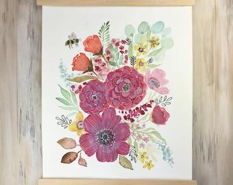 Original Watercolor Floral Botanical Wall Art ... illustration painting flowers bouquet decor not a print sweetimaginations susan van horn