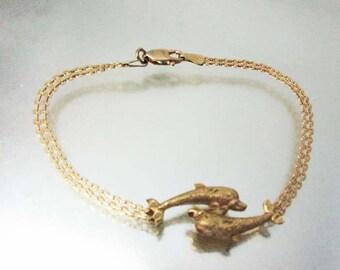 14k Gold Double Dolphins Bracelet