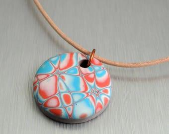 Aqua and Coral Polymer Clay Pendant - Round Pendant - Fimo Pendant
