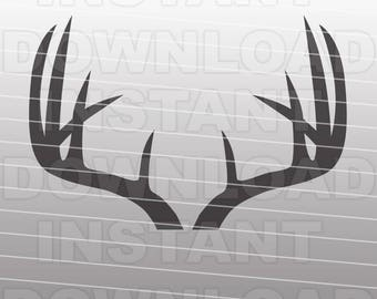 Deer Antlers SVG File Cutting Template - Silhouette Clip Art for Commercial and Personal Use - Cricut, SCAL, Cameo, Sizzix, Pazzles, Vinyl