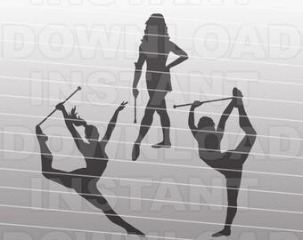 Majorette Baton Twirling Gymnastics SVG File - cricut svg,silhouette svg,svg cuts,cuttable svg,svg cut file,vector svg,vinyl file