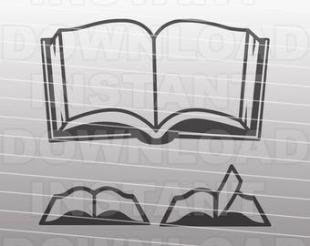 Open Books SVG File,Library Books SVG,Reading SVG -Commercial & Personal Use- Vector Art for Cricut,Silhouette Cameo,Heat Transfer Vinyl