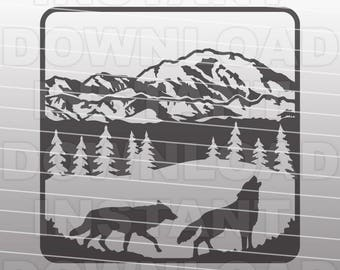 Wolf Mountain Scene SVG File,Wolf SVG File,Wolves SVG File-Vector Clip Art for Commercial & Personal Use-Cricut,Cameo,Silhouette,Vinyl