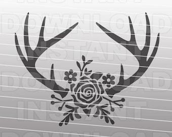 Floral Antlers SVG File,Rustic Deer Antlers SVG,Flowers svg -Personal & Commercial Use- Cricut svg,silhouette svg,vector svg,vinyl design
