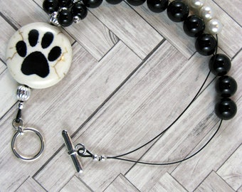 Animal Paw Prints Black Onyx Row Counting Bracelet for Knitting and Crochet - Item No. 1036