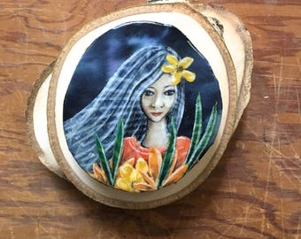 Unique original art, blue hair, gifts for teen, this if your moment, gifts for her, yellow flower, birthday gift, shellieartist, wood slice