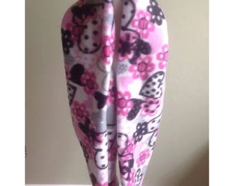 "Infinity Scarf-Fleece Hearts & Flowers Pink-6"" by 56""-Handmade USA-Tween Ladies"