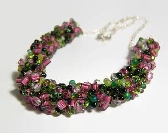 Beaded Necklace, Gemstone Necklace, Statement Necklace, Pink & Green Knitted Beaded Necklace