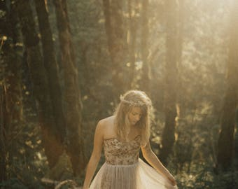 SAMPLE SALE Cedar and Lavender Floral Tulle and Chiffon Gown