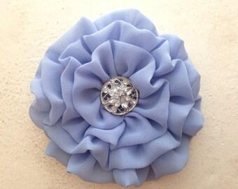 Periwinkle Flower Hair Clip.Periwinkle Brooch.Pin.Flower Headpiece.bridesmaid headpiece.chiffon flower.Periwinkle Blue Flower.hair piece