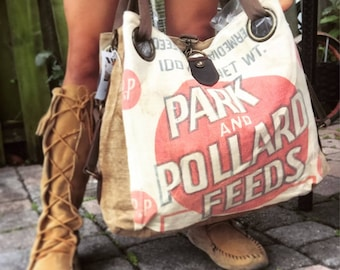 Park and Pollard Feeds - Open Tote - Americana OOAK Canvas & Leather Tote... Selina Vaughan Studios