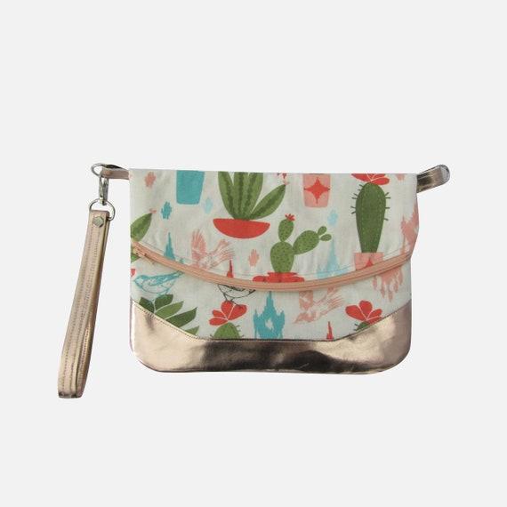 Cacti and birds  Rose gold Handmade Clutch crossbody purse