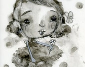 Inky Girl- 5x7 original ink and graphite on Yupo