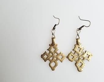 Ethiopian Coptic Cross earrings, handmade earrings, Coptic Cross, African jewelry, Ethiopian earrings