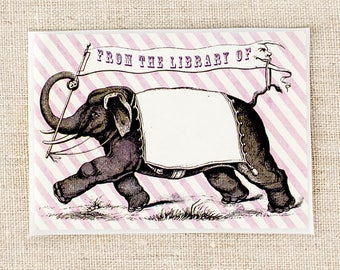 circus elephant bookplate stickers - kids bookplates - book labels - book plates - gifts for book lovers - gifts for teacher - ex libris