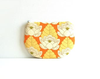 Coin Purse, Small Zipper Pouch, Women and Teens, Mini Wallet, Amy Butler, Lotus Pond in Tangerine