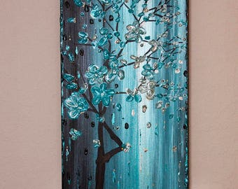 ORIGINAL Landscape Canvas Art Wall Decor Painting Blue Turquoise Modern Abstract Home Decor by Heather Lange