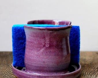 Purple Blush Sponge Holder Stoneware Clay Pottery Ready to Ship