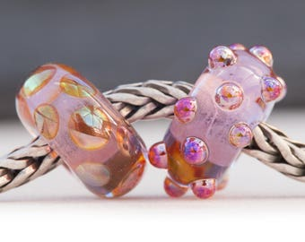 Dotty Lustre Bead Pink Lavender Duo Handcrafted Lampwork Glass European Charm Big Holed Bead by Clare Scott SRA