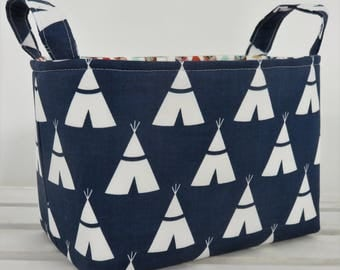 READY TO SHIP - Storage and Organization  -  White TeePees on Navy Blue - Fabric Organizer Bin Storage Container Basket